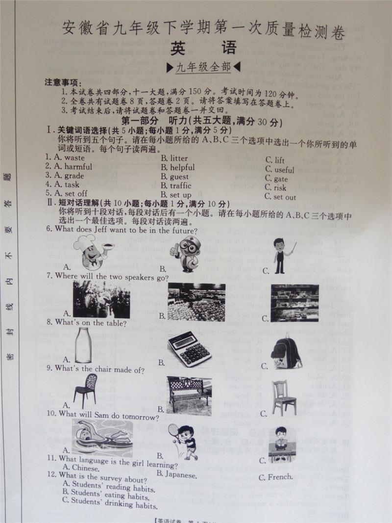 2019届安徽蚌埠九年级下第一次大联考英语试题及答案
