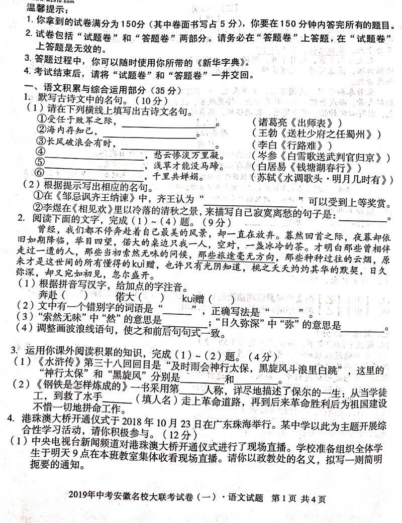 安徽第一卷-2019安徽名校大联考中考语文试题及答案