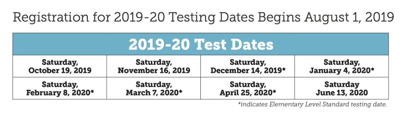 2019-2020 最新SSAT考試時間