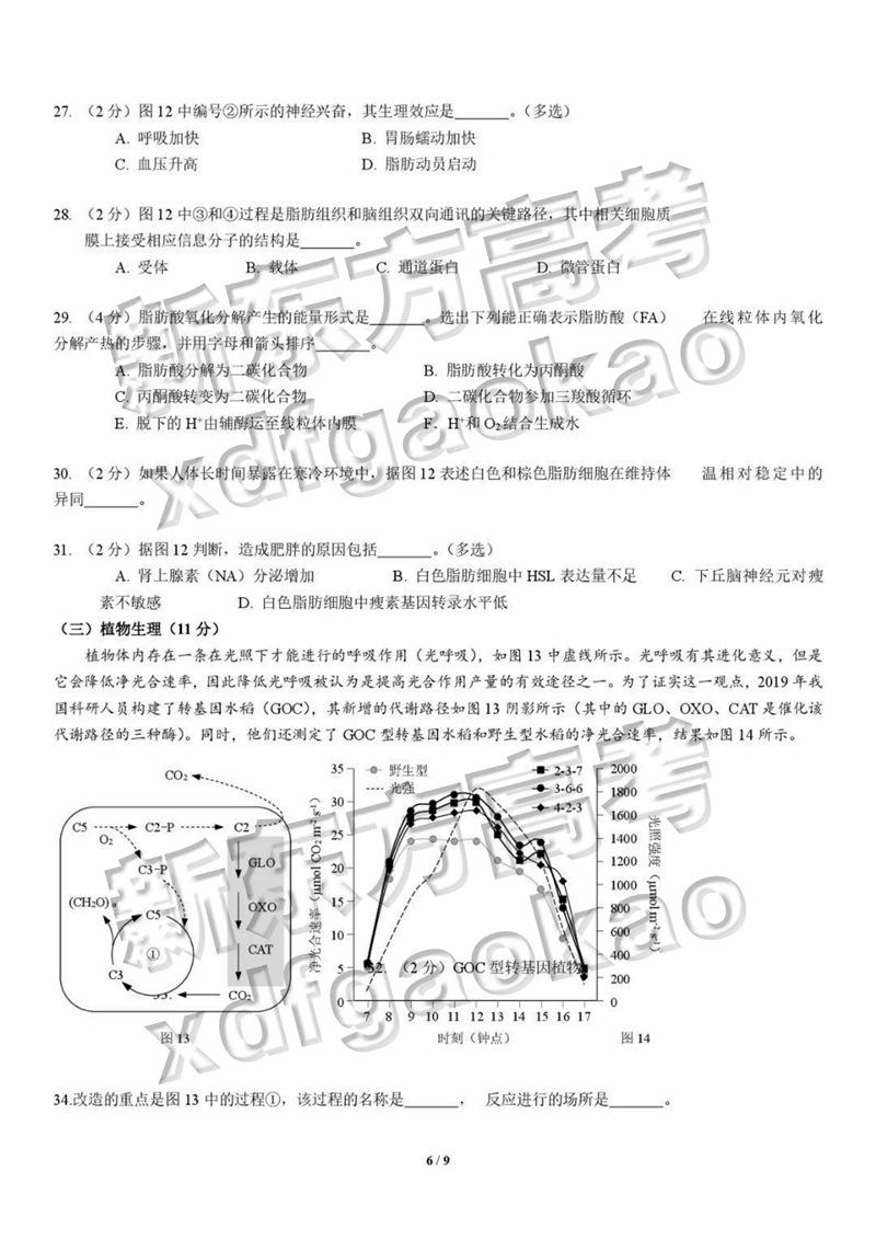 2019上海杨浦二模生命科学试卷及参考答案
