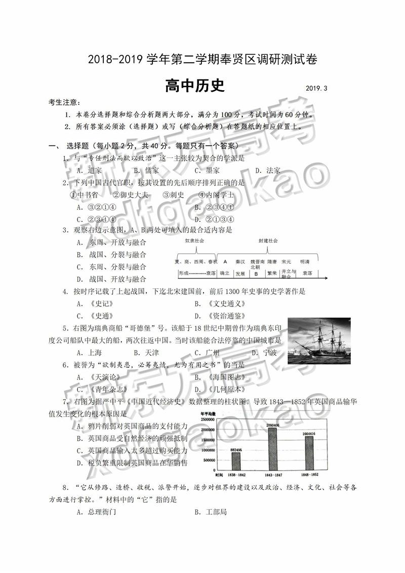 2019上海奉贤二模历史试卷及参考答案
