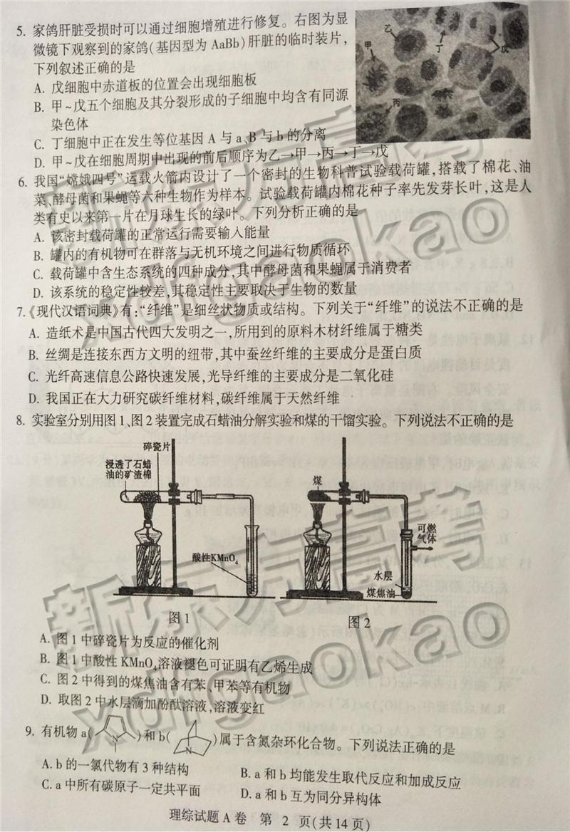 2019石家庄一模理综试卷及参考答案