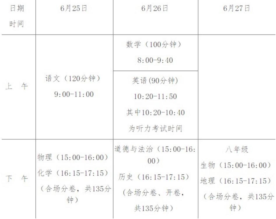 2019海南省统一中考时间:6月25日-6月27日
