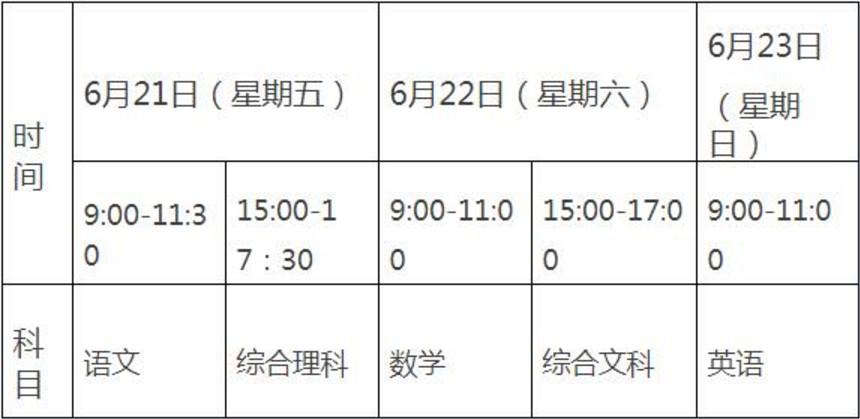 2019黔南中考时间安排:6月21日至6月23日