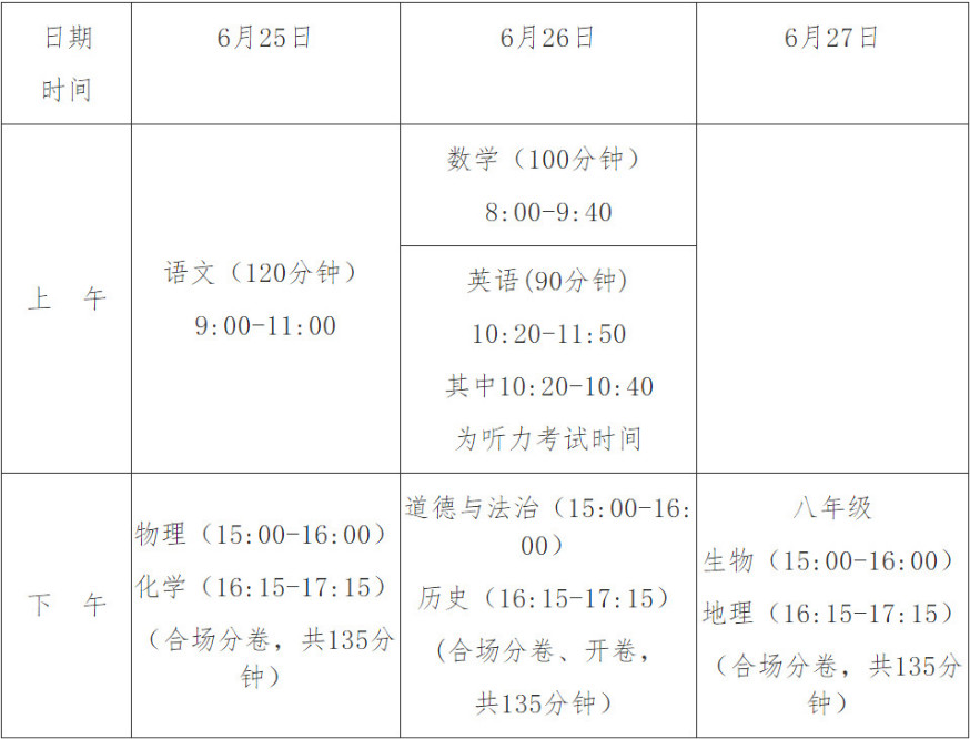 2019海南三亚中考时间安排:6月25日至6月27日