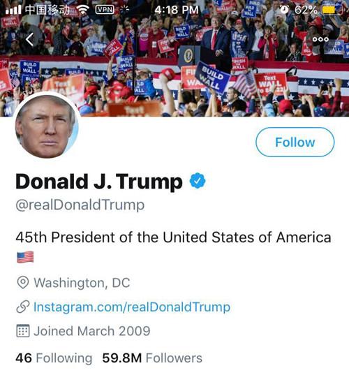 特朗普抱怨掉粉 推特上比奥巴马少4600万粉丝