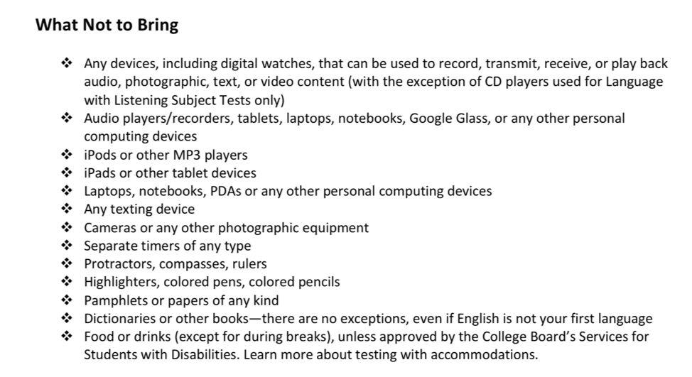 SAT考前小贴士 考试必带物品和注意事项