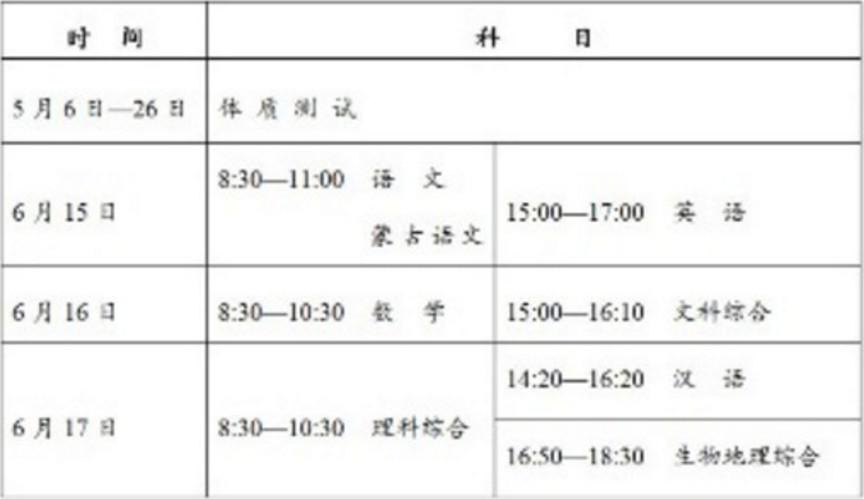 2019呼和浩特中考时间安排:6月15日至6月17日