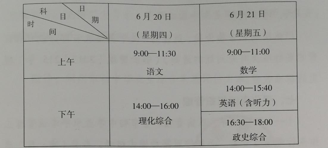 2019荆州中考时间安排:6月20日至6月21日