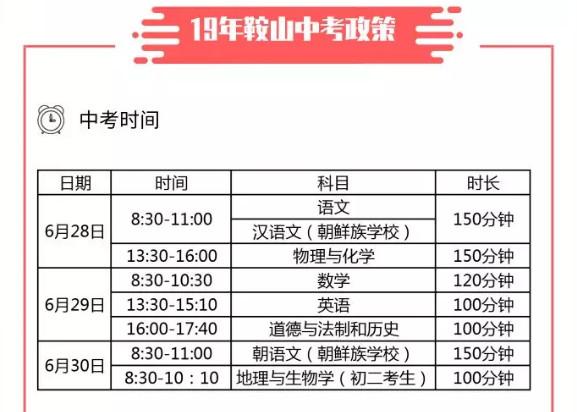 2019鞍山中考时间安排:6月28日至6月30日