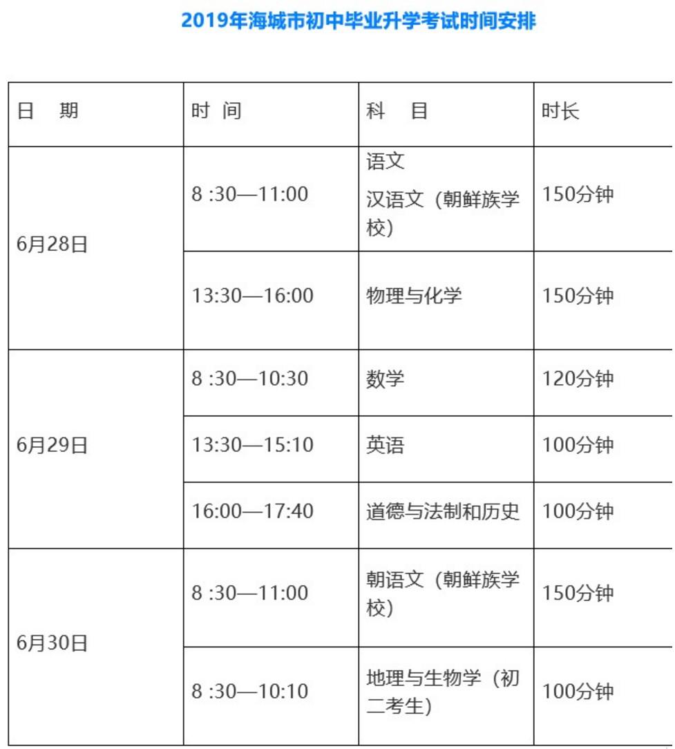 2019鞍山海城市中考时间安排:6月28日至6月30日