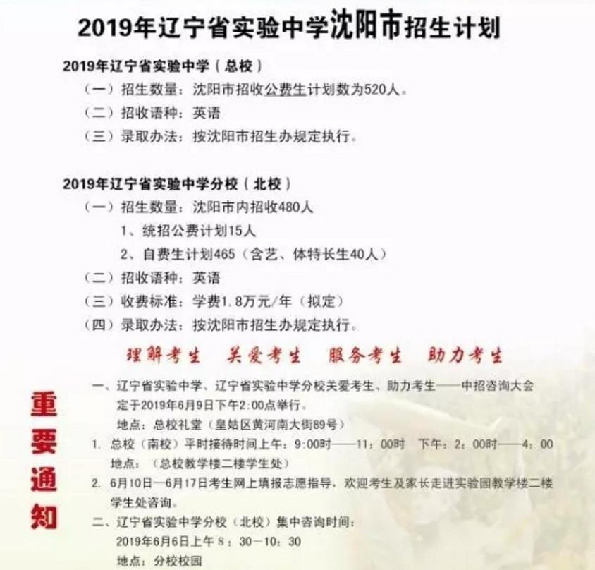 2019辽宁省实验中学中考招生计划公布(含分校)