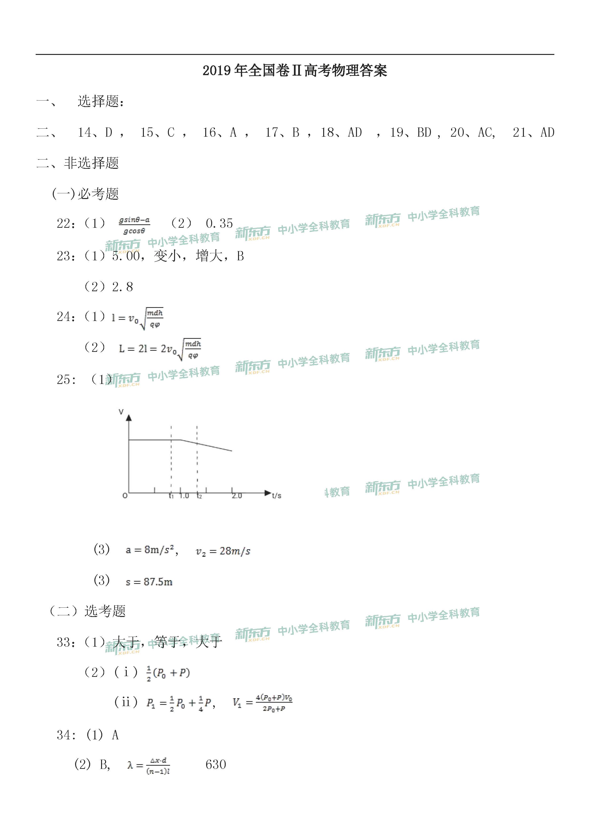 2019年全国卷2高考物理答案(吉林新东方)