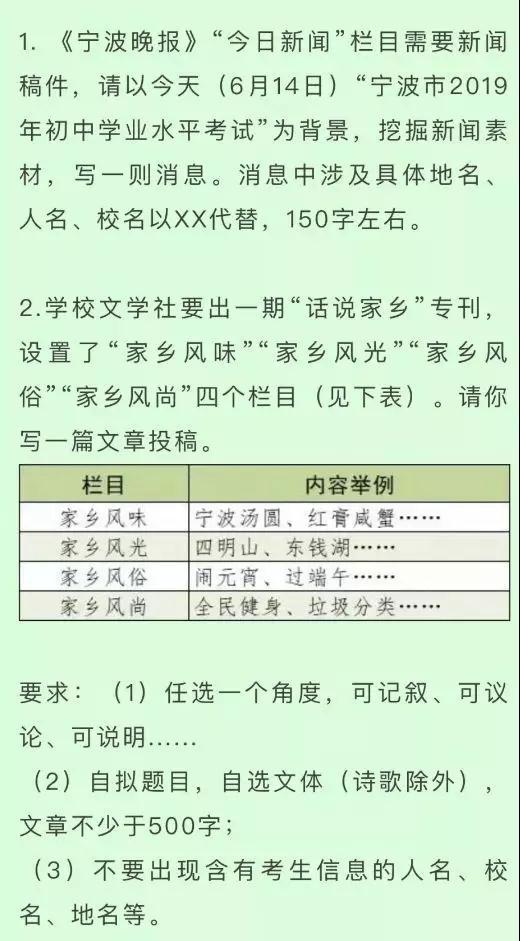 2019浙江寧波中考作文