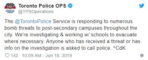 加拿大多伦多高校遭炸弹威胁 涉及10校区