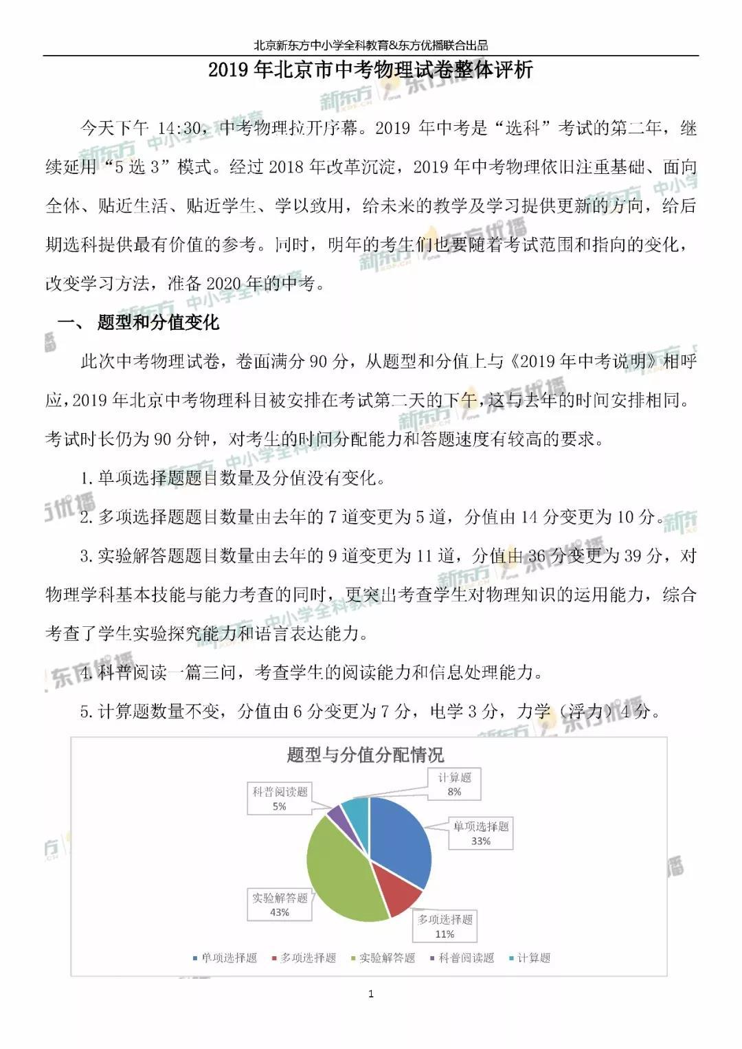 2019北京中考物理试题整体点评