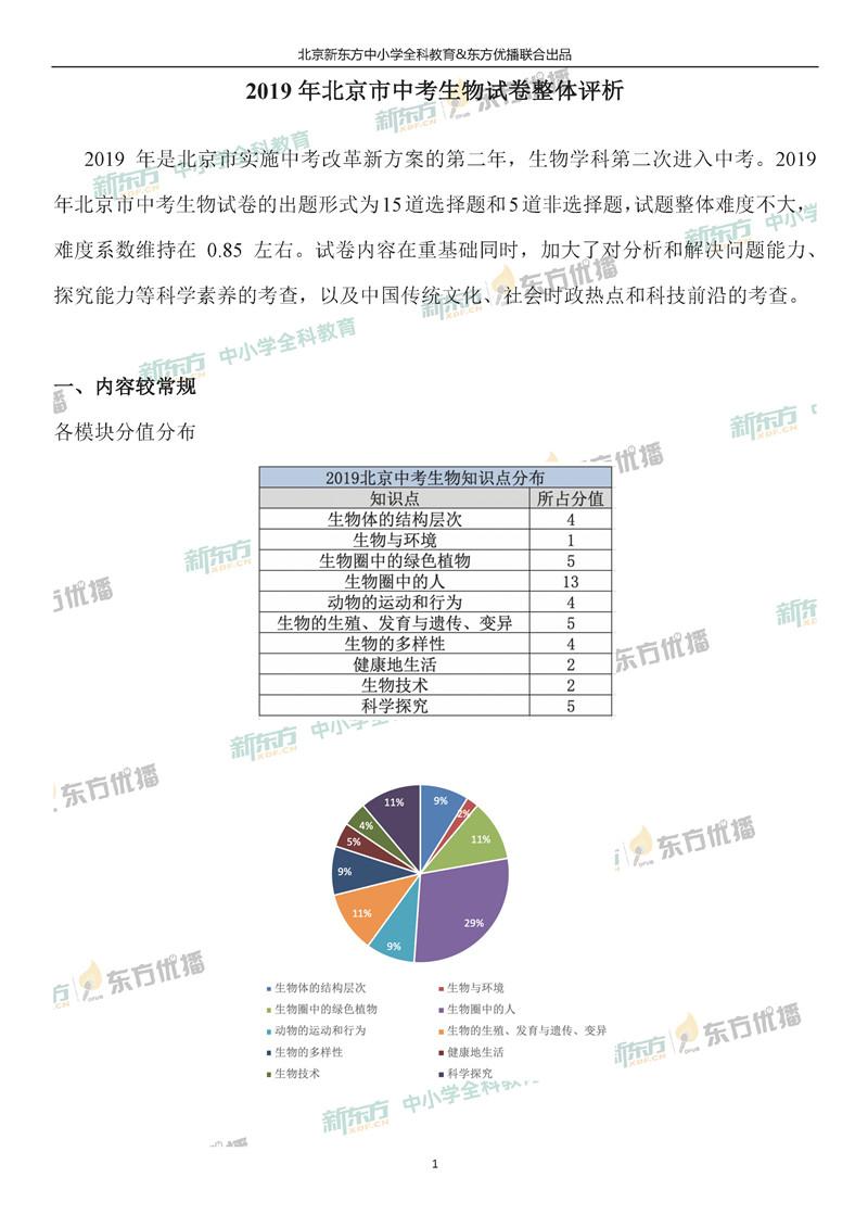 2019北京中考生物试题整体点评