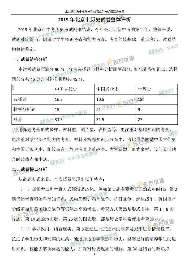 2019北京中考历史试题整体点评(北京新东方)