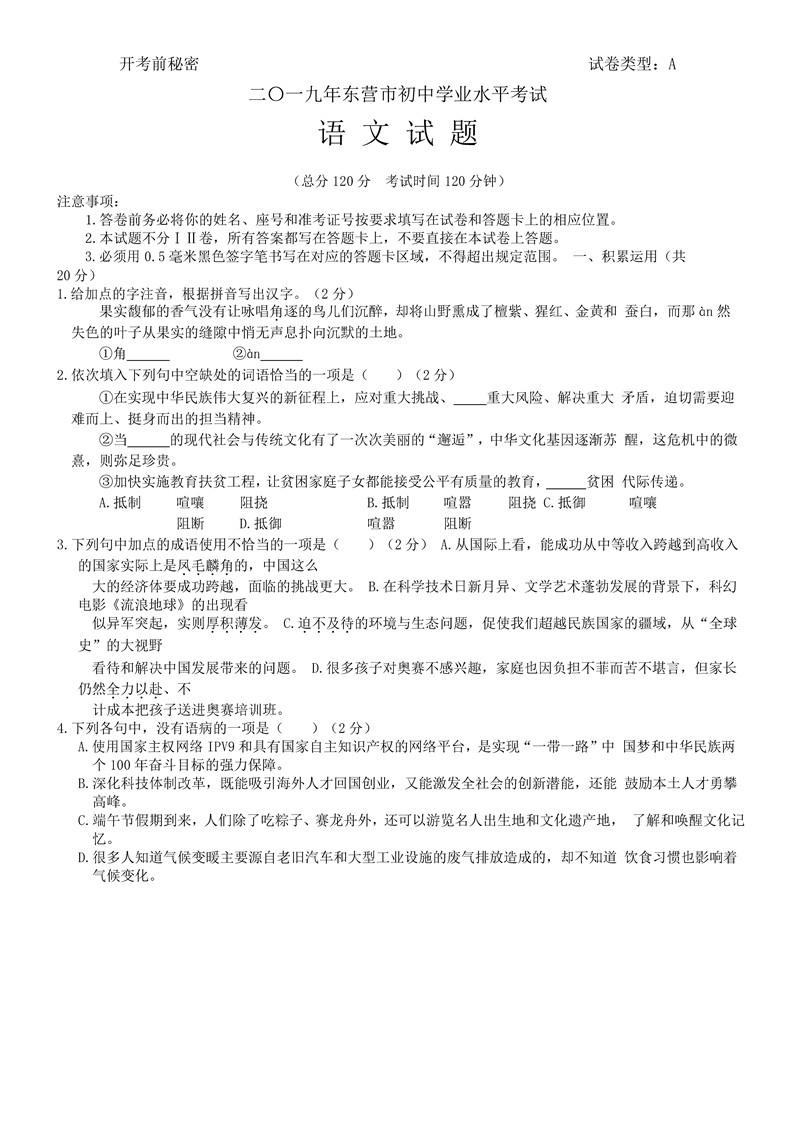 2019山东东营中考语文试题及答案解析