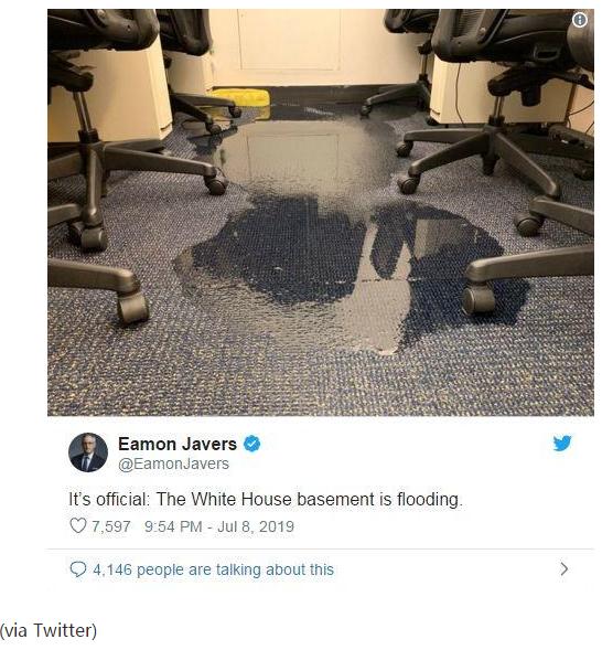 华盛顿暴雨致白宫浸水 网友:地铁成水帘洞