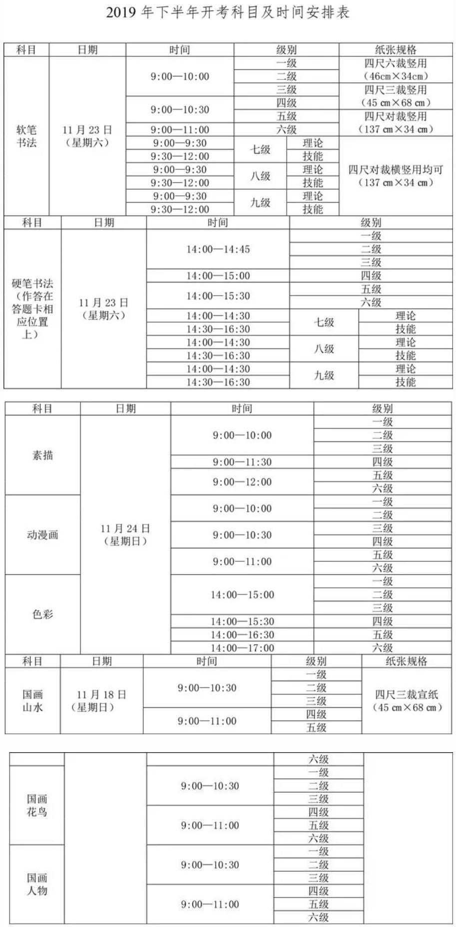 2019四川省下半年书画等级考试报考公告(中国教育考试网)
