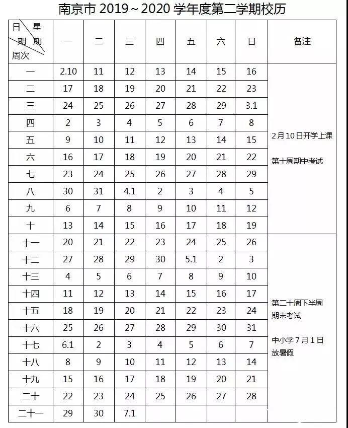 2019-2020江苏省南京市最新校历时间表公布