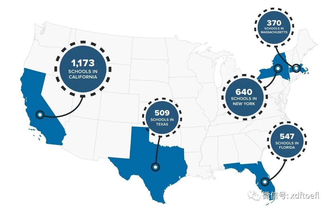 美国SEVP认证学校最多的五个州