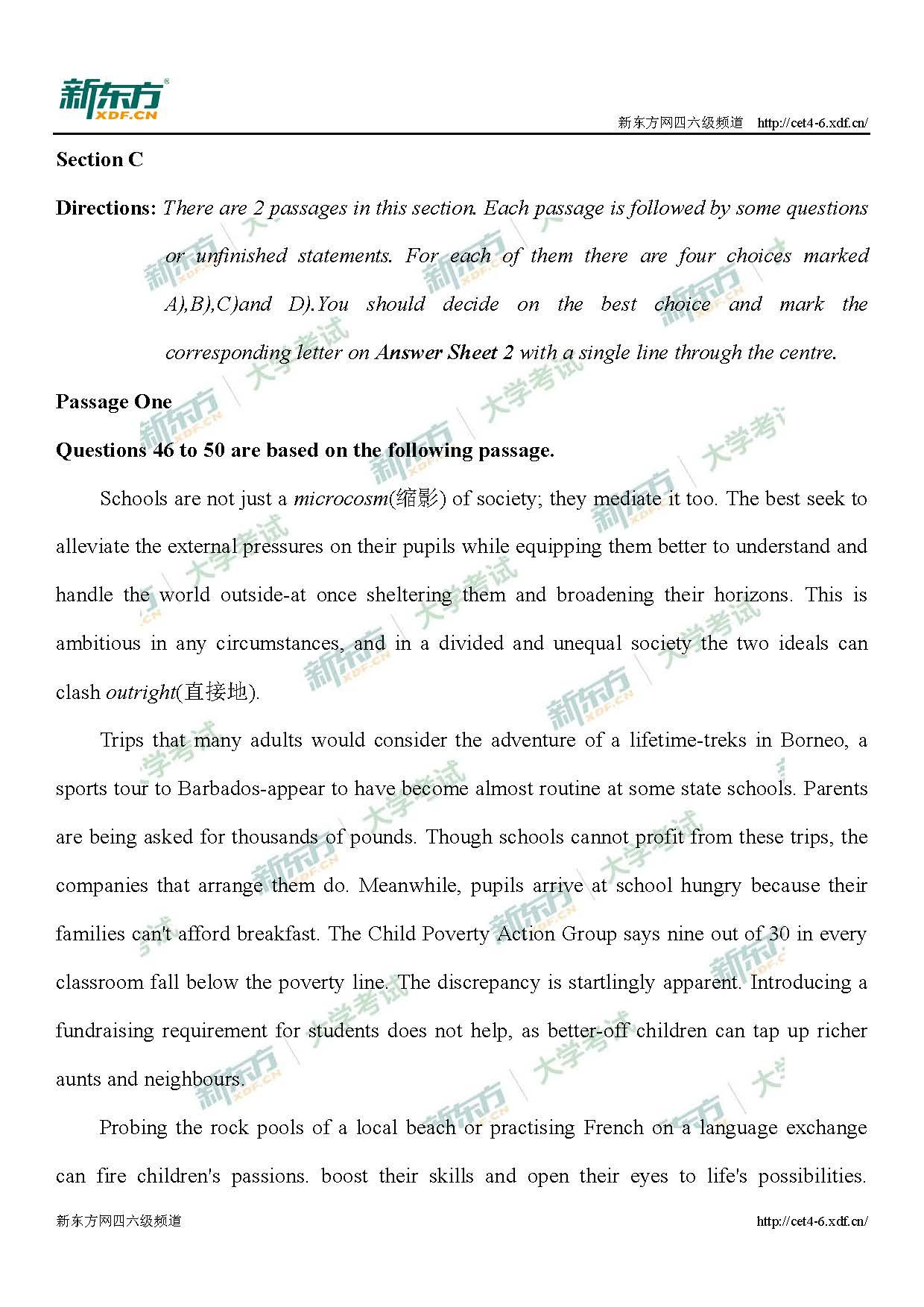 2019年12月六级第一套仔细阅读解析(杭州新东方)