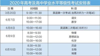 高考时间表