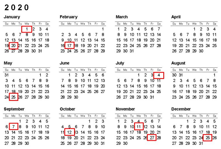 2020年美国全国性联邦节假日有哪些?