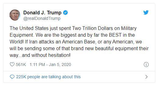 特朗普再警告伊朗 美国将毫不犹豫地使用价值2万亿的军事装备