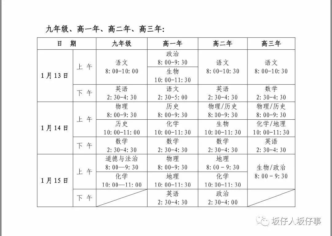 漳州2020学年(上)期末质量检测时间、范围