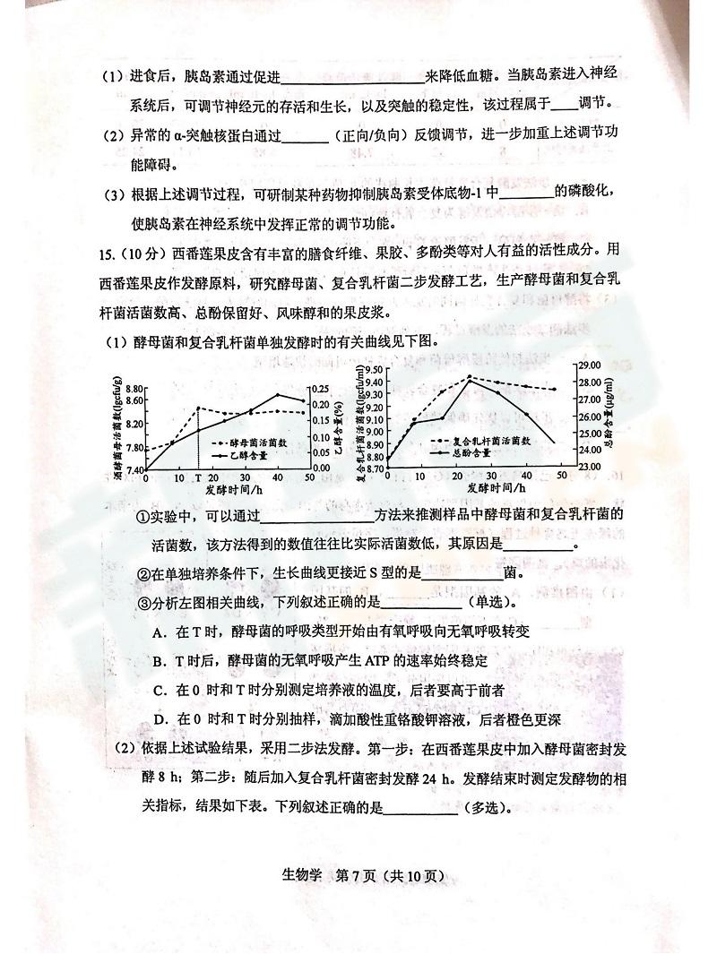 高考模拟试卷,天津高考生物模拟试卷