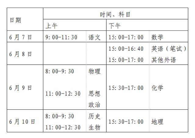 2020年北京高考4天时间安排如下