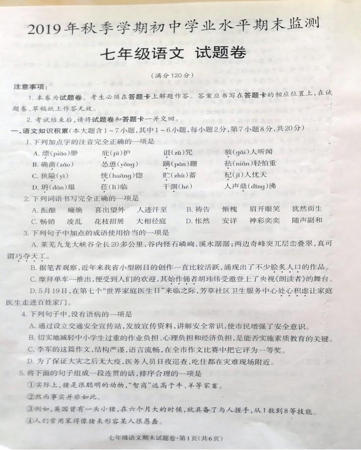 2019-2020云南昭通市七年级语文上册期末试题无答案(图片版)
