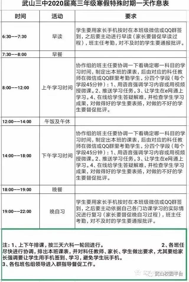 武山三中2020届高三年级寒假特殊时期一天作息表