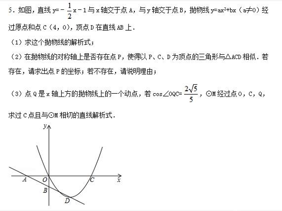 中考数学总复习之压轴题精选(五)
