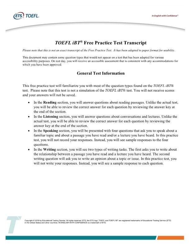 最新托福考试样题中的考试介绍