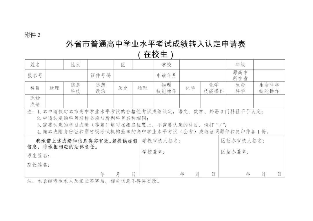 2020上海市普通高中学业水平考试外省市成绩认定图2
