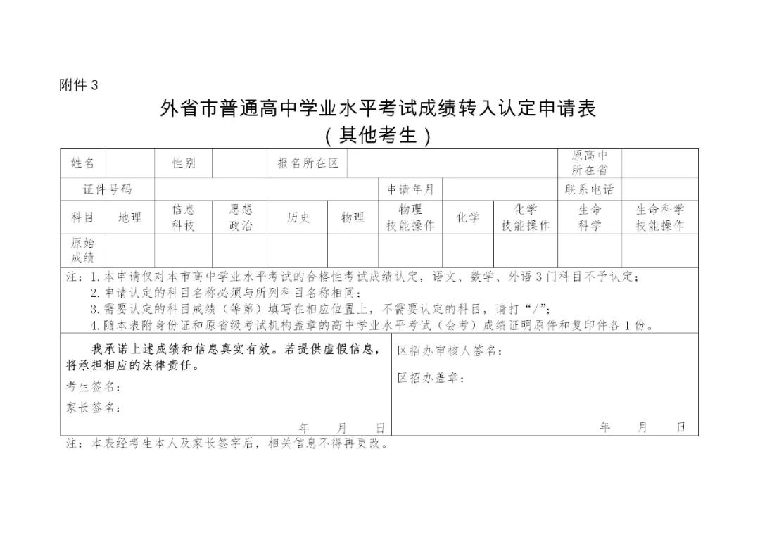2020上海市普通高中学业水平考试外省市成绩认定图3