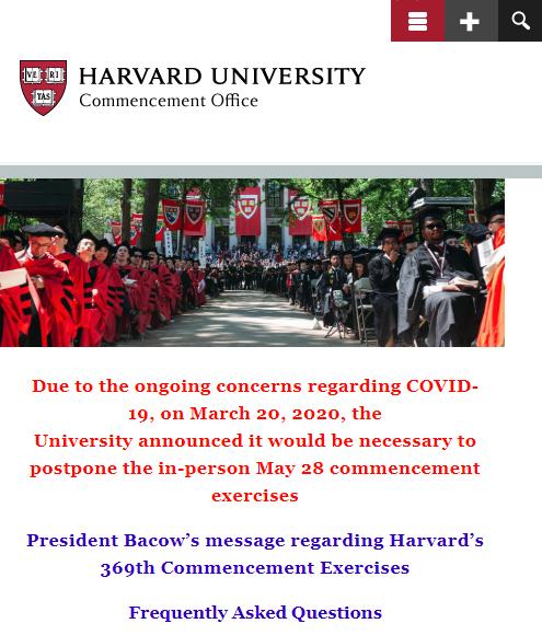哈佛校长确诊新冠 5月毕业典礼将改为线上