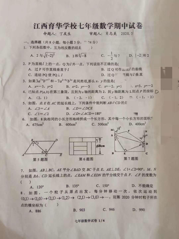 2020年江西育华初一下学期期中数学试卷