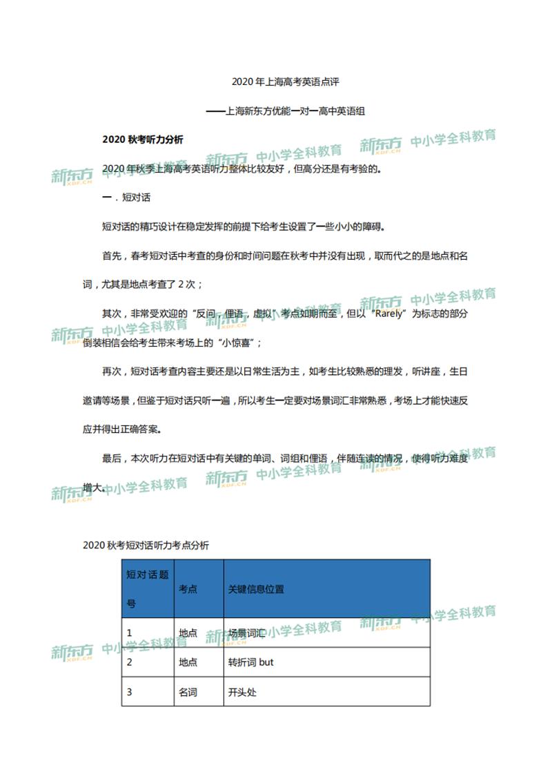 2020上海卷高考英语试题点评