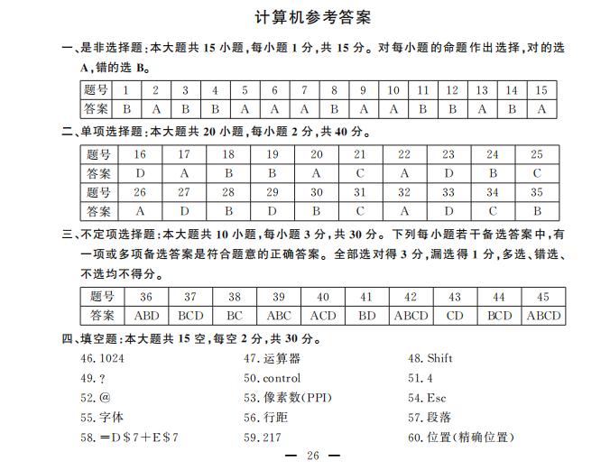 """2020江西省""""三校生""""对口升学计算机考试答案"""