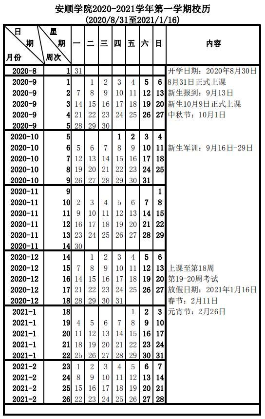 安顺学院2020年秋季学期开学时间