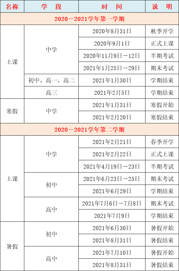新学期规划之福州市2020-2021学年度中小学校历