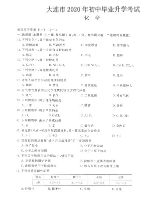 2020辽宁大连中考化学试题及答案(图片版)