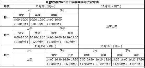 2020长沙长郡系、雅礼系初中学校期中考试时间安排出炉!