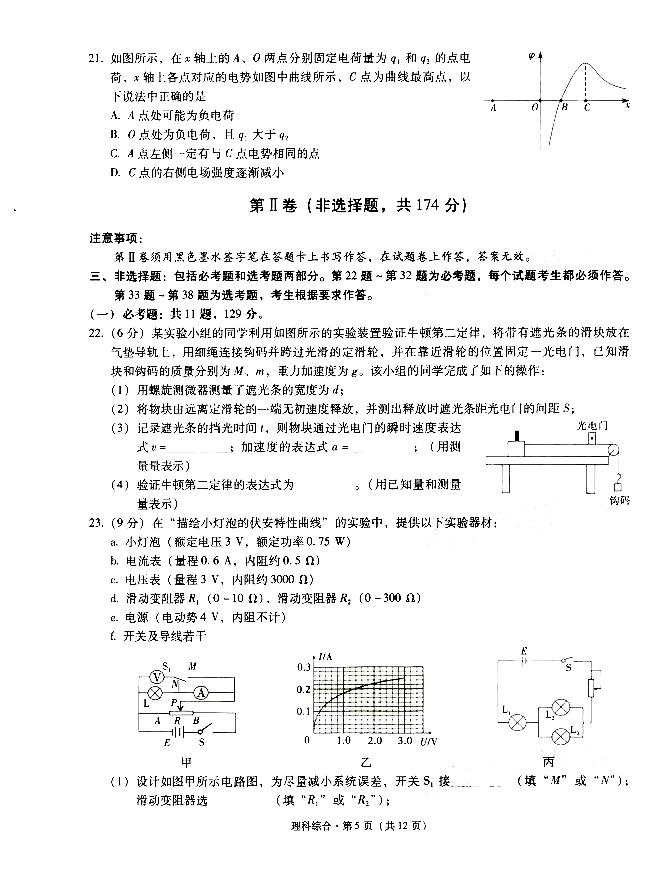 2021云南昆明一中高三月考(二)理综试卷答案解析图1