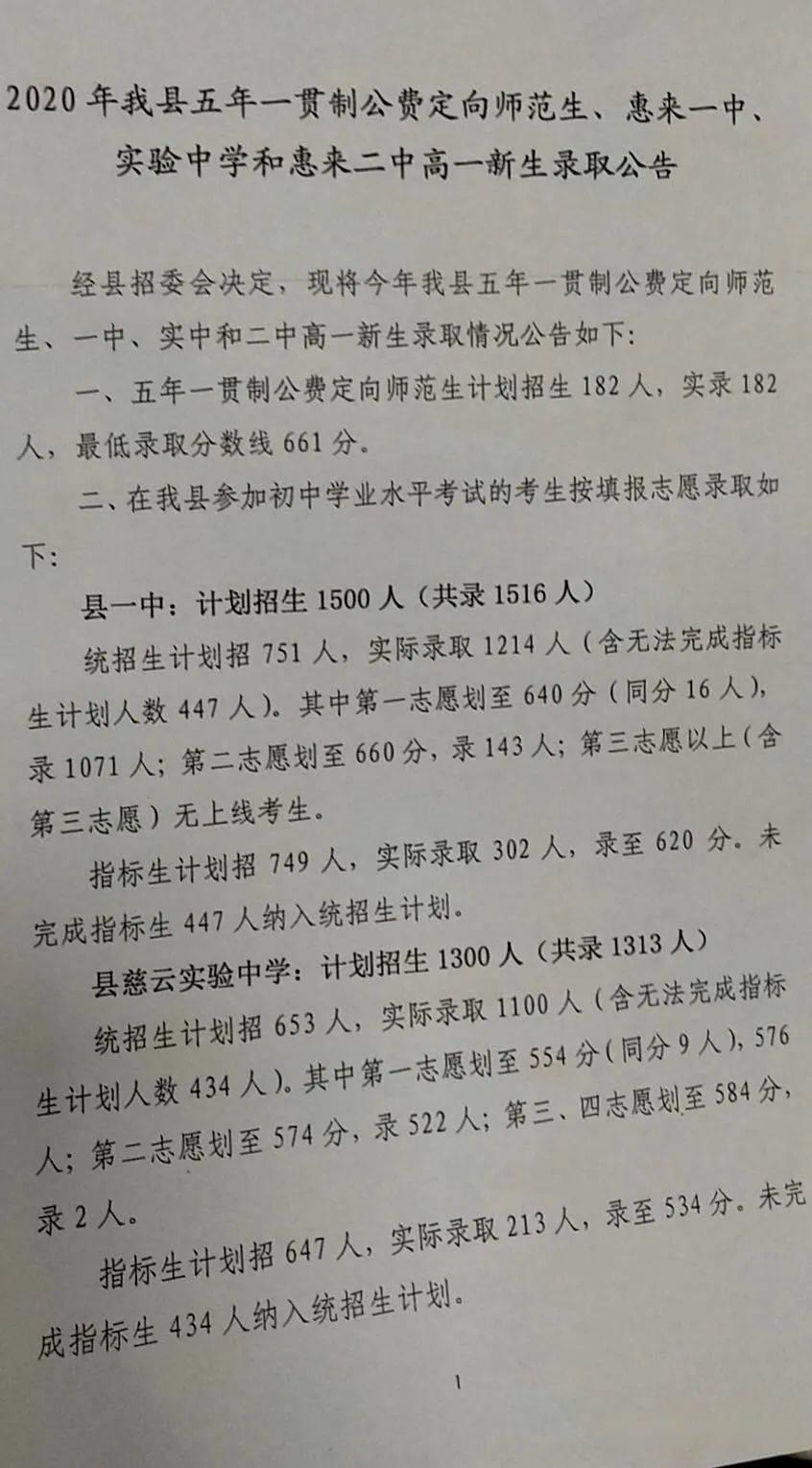 2020惠来县各高中录取分数线公布(含五年一贯制师范生)